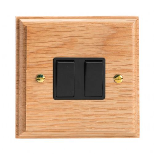 Varilight XK77OB Kilnwood Oak 2 Gang 10A Intermediate Rocker Light Switch